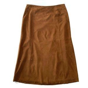 Brooks Brothers 346 Tan Suede Midi Skirt Sz 8